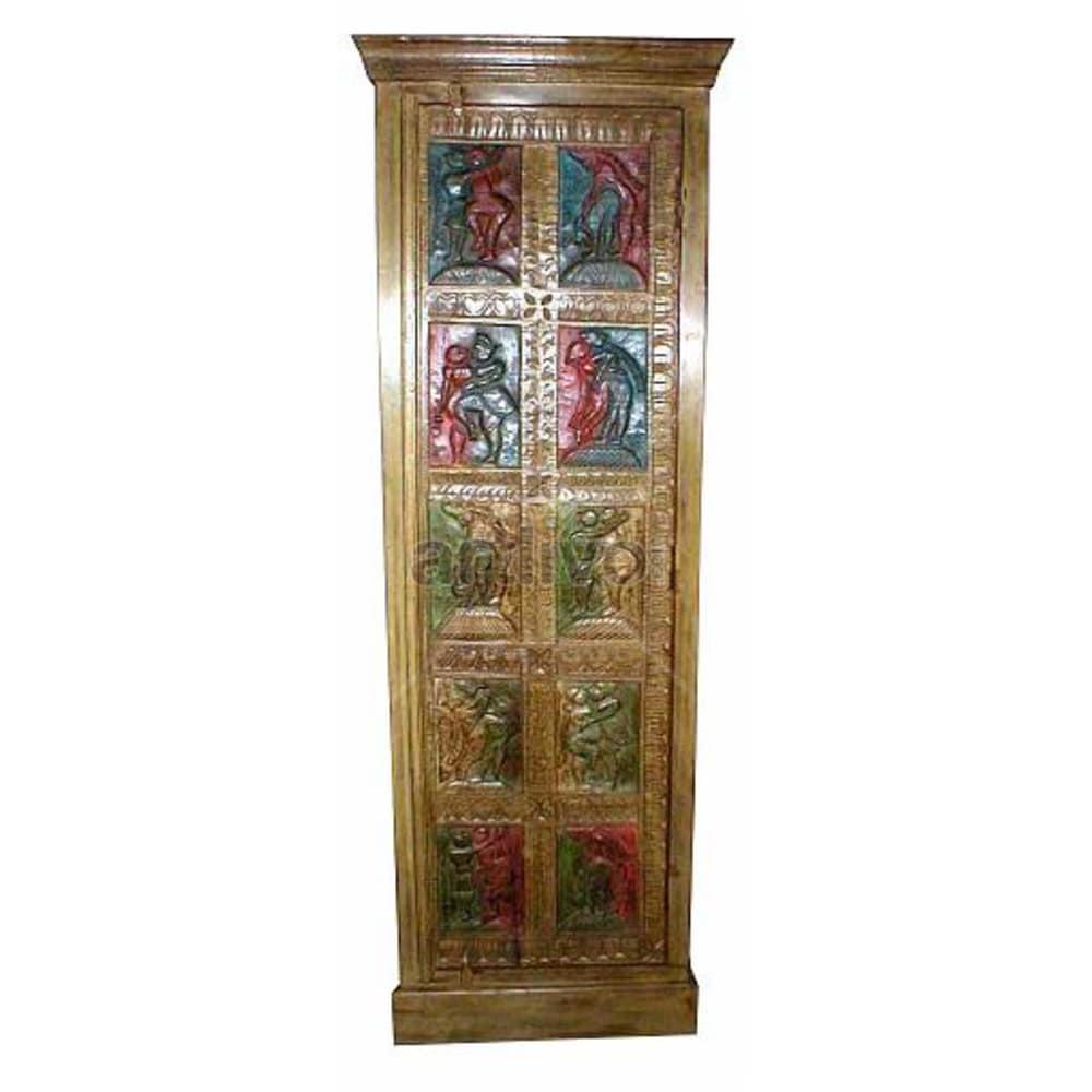 Old Indian Engraved Palatial Solid Wooden Teak Almirah