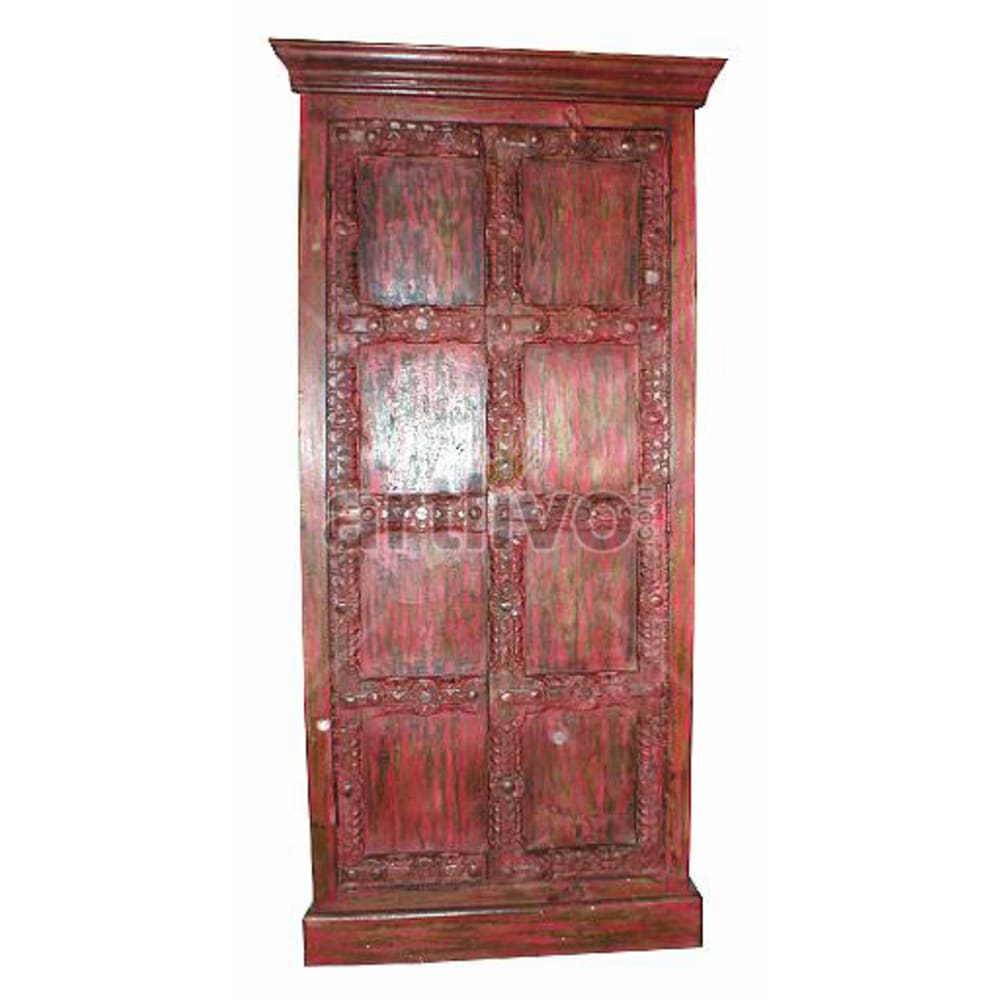 Old Indian Engraved magnificent Solid Wooden Teak Almirah