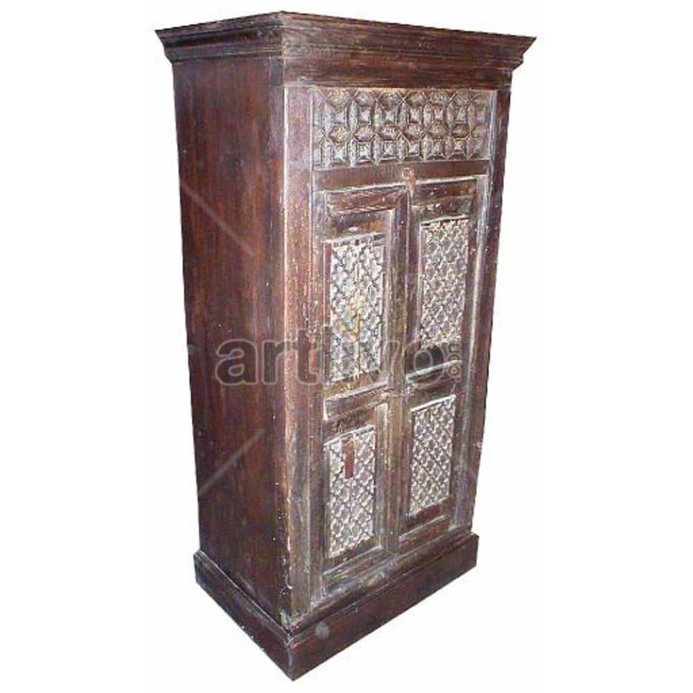 Old Indian Engraved Supreme Solid Wooden Teak Almirah