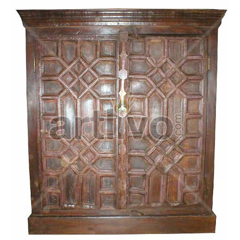 Old Indian Engraved Marvellous Solid Wooden Teak Almirah