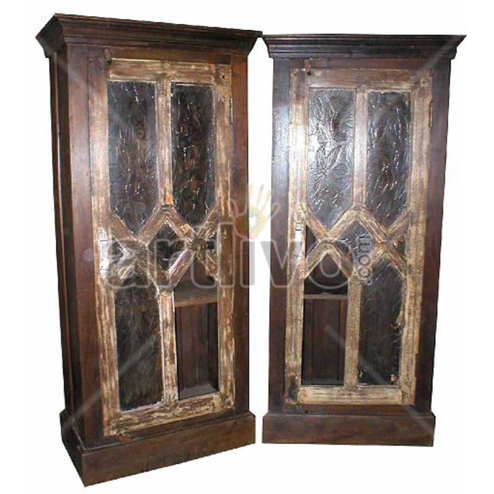 Old Indian Sculpted Deluxe Solid Wooden Teak Almirah
