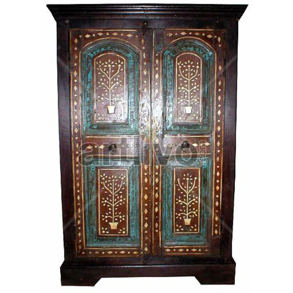 Old Indian Sculpted Ostentatious Solid Wooden Teak Almirah
