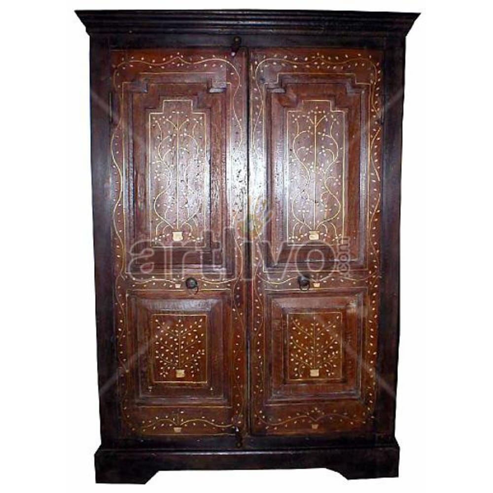 Old Indian Sculpted Palatial Solid Wooden Teak Almirah