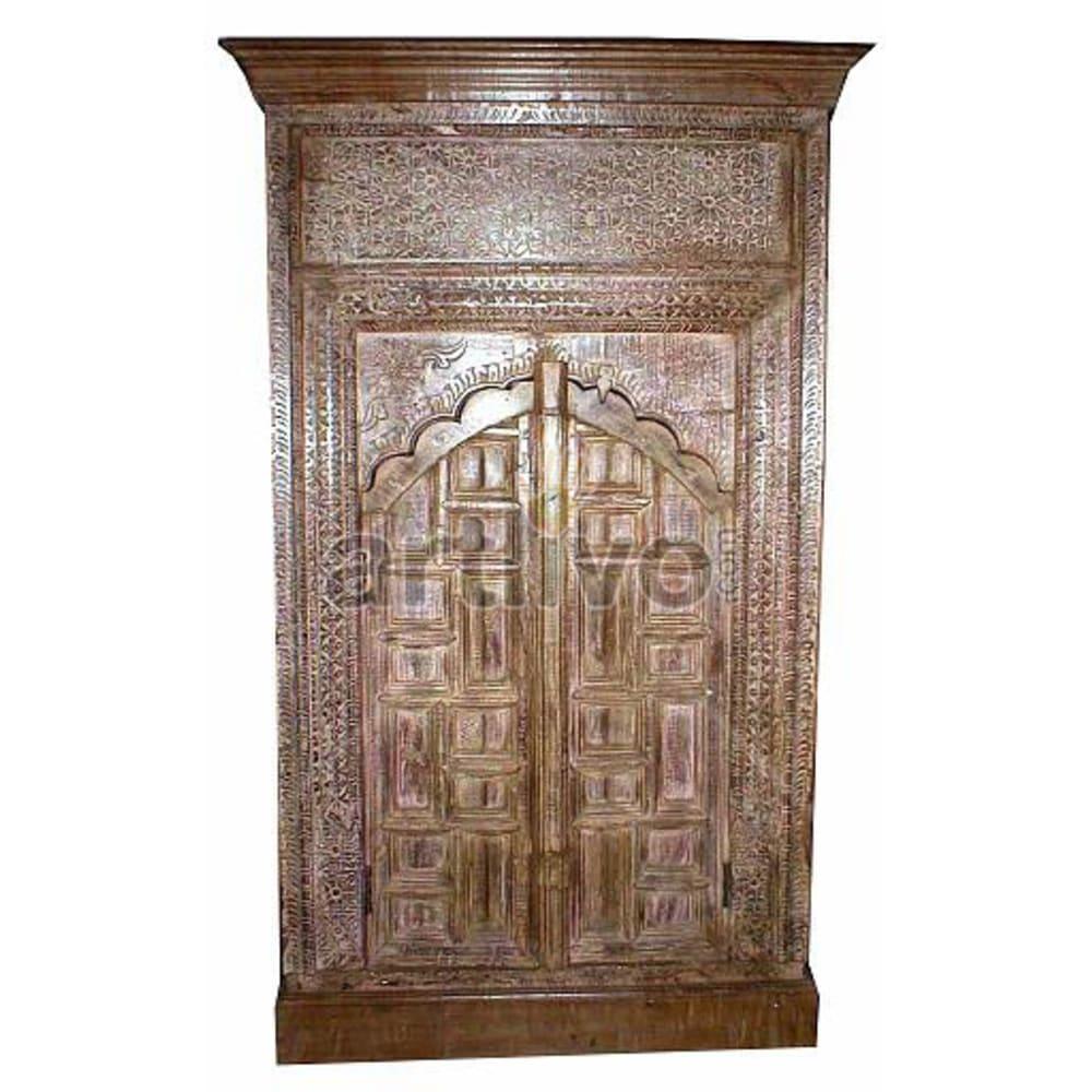 Old Indian Sculpted Marvellous Solid Wooden Teak Almirah