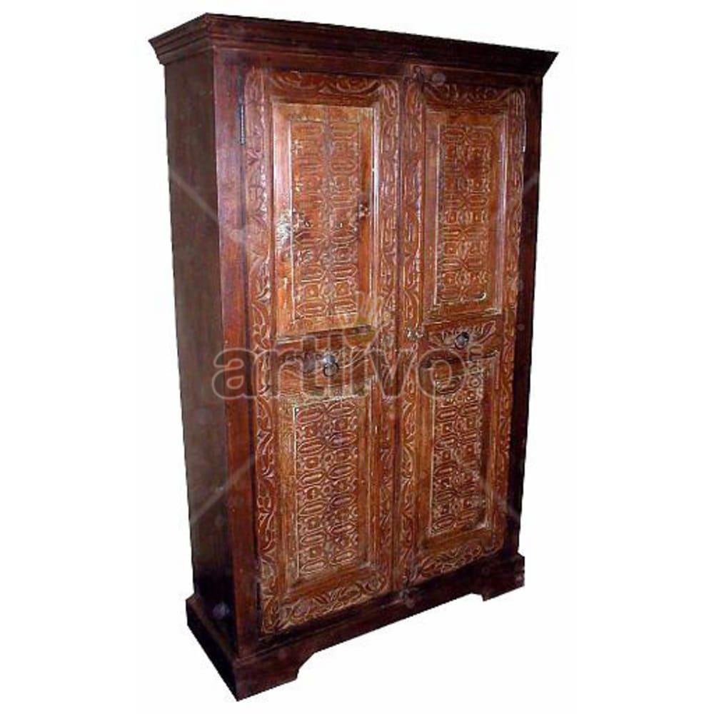 Old Indian Beautiful Unique Solid Wooden Teak Almirah