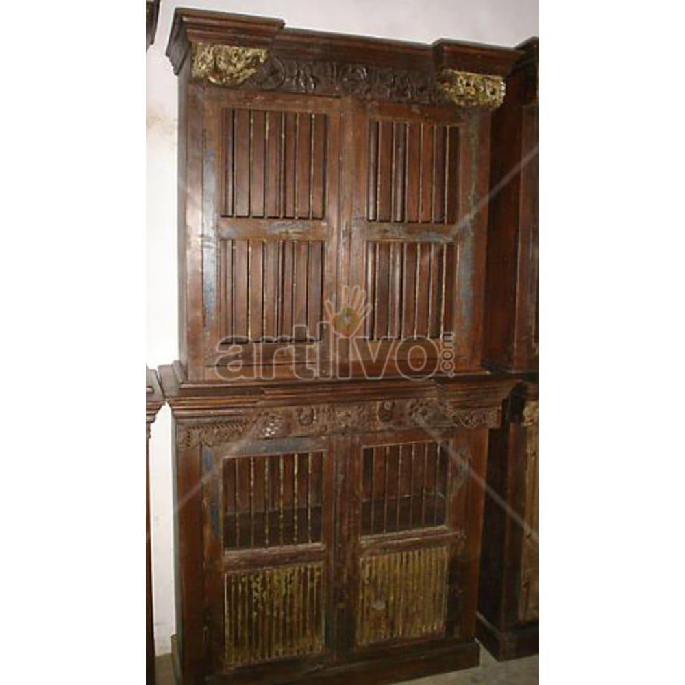 Old Indian Brown Plush Solid Wooden Teak Almirah