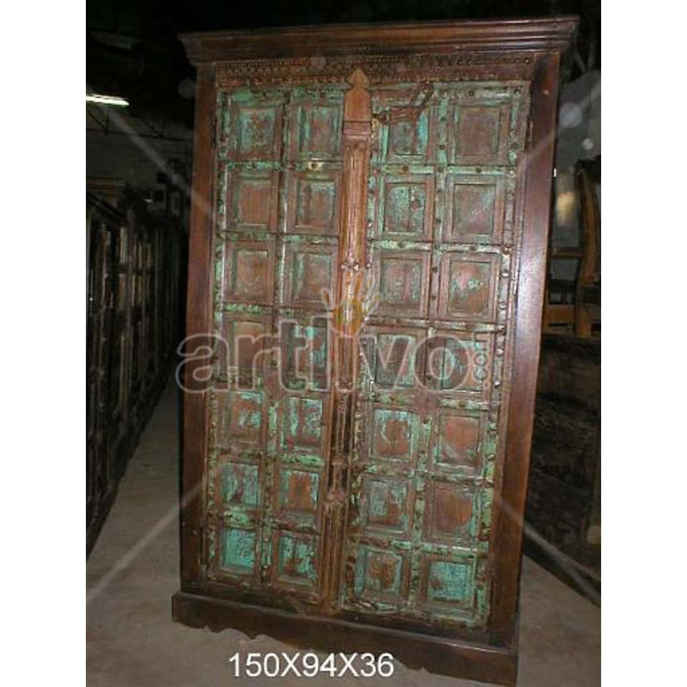 Restored Carved Luscious Solid Wooden Teak Almirah