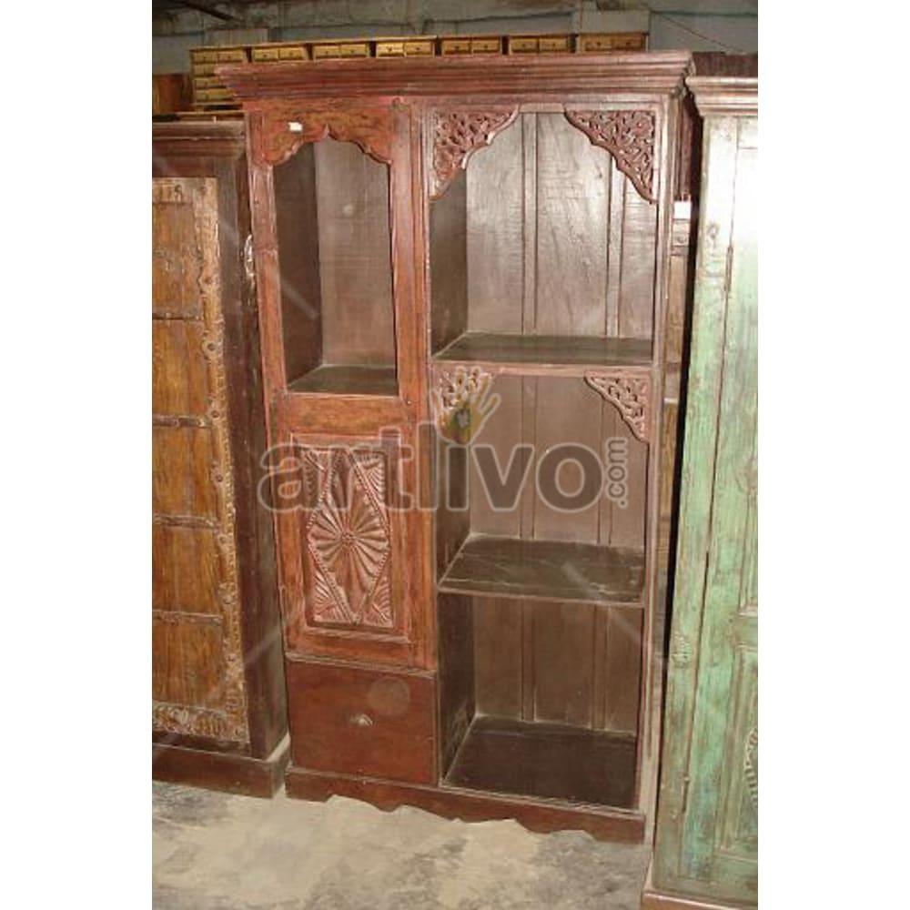 Restored Engraved aristocratic Solid Wooden Teak Almirah