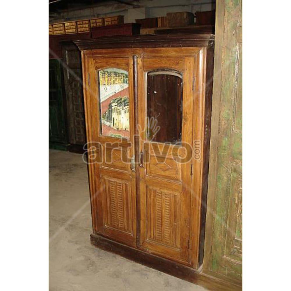 Restored Engraved noble Solid Wooden Teak Almirah