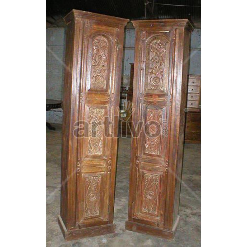 Restored Sculpted imperial Solid Wooden Teak Almirah