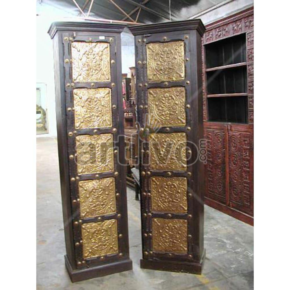 Restored Sculpted Superb Solid Wooden Teak Almirah single door brass work
