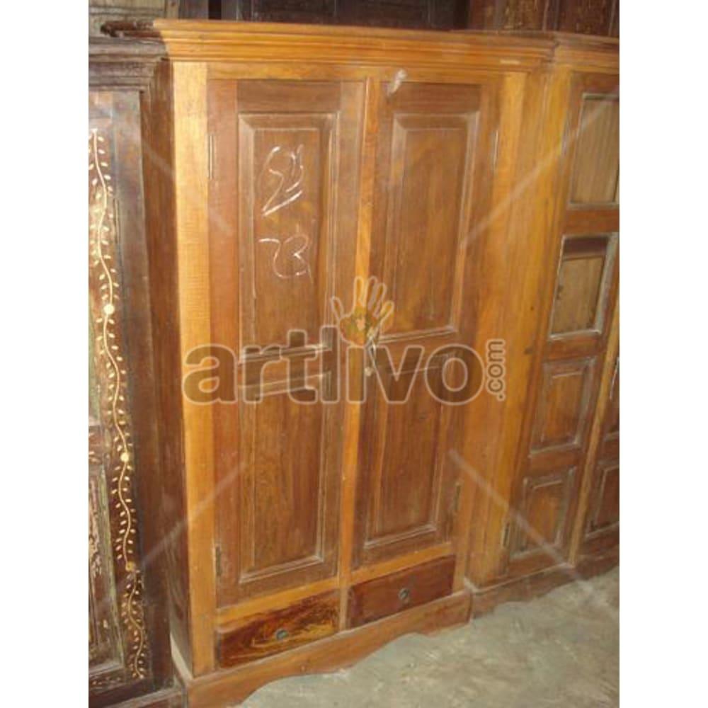 Restored Sculptured stately Solid Wooden Teak Almirah