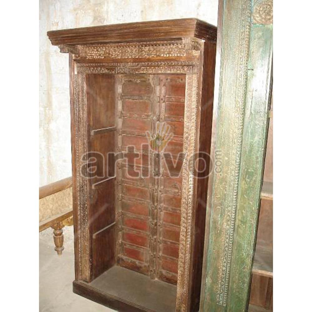 Vintage Indian Carved Superb Solid Wooden Teak Bookshelf