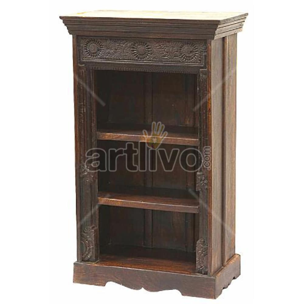 Vintage Indian Brown Rich Solid Wooden Teak Bookshelf