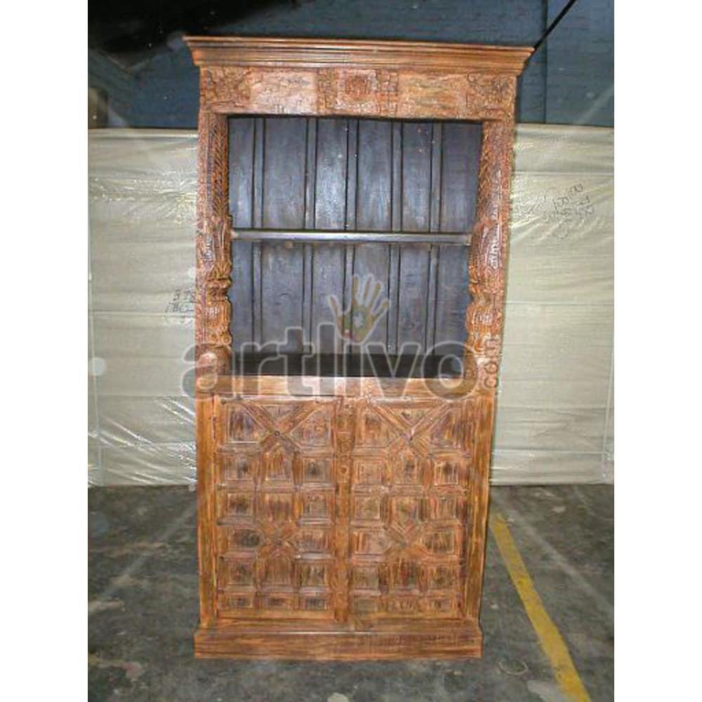 Vintage Indian Engraved Opulent Solid Wooden Teak Bookshelf