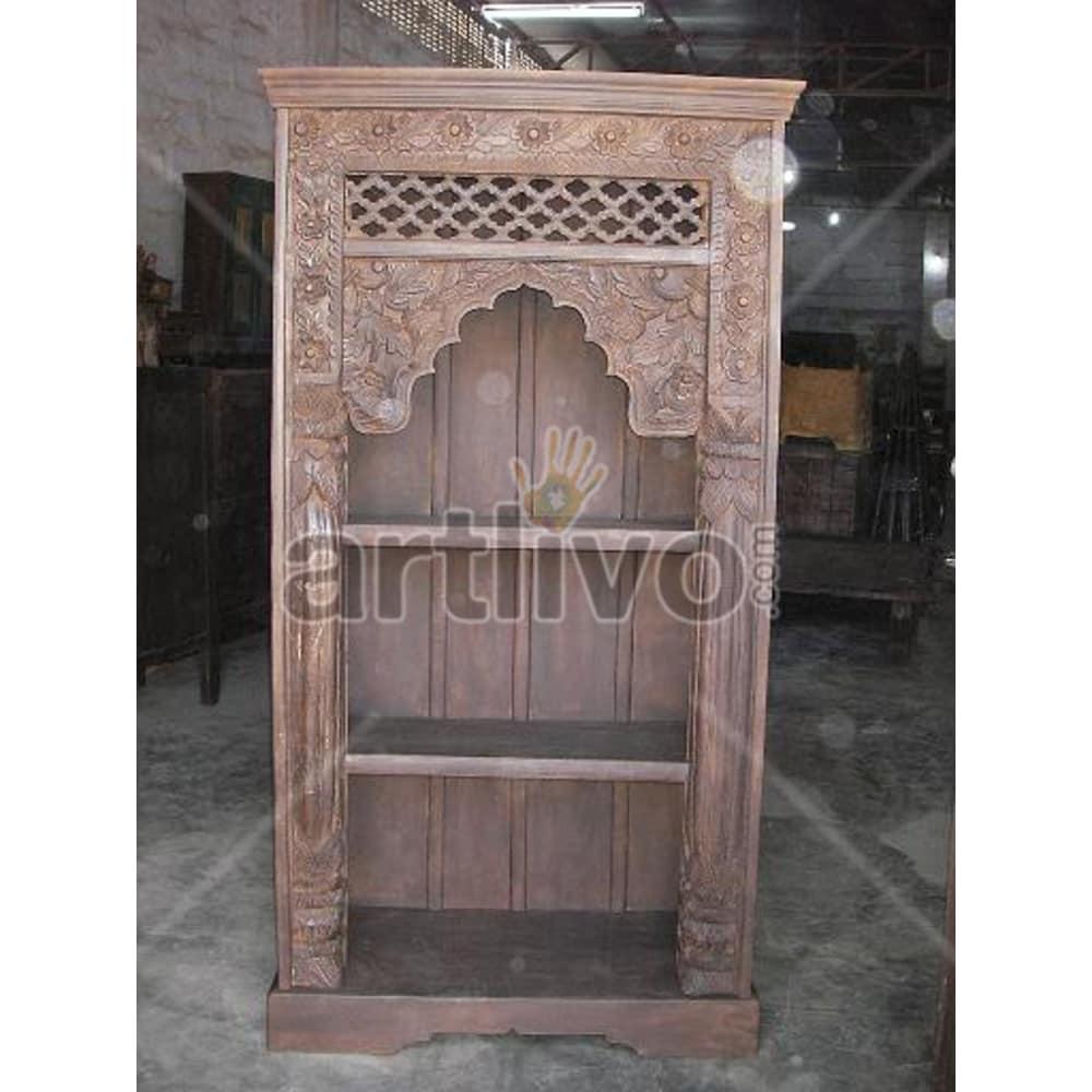 Vintage Indian Engraved Aristocratic Solid Wooden Teak Bookshelf