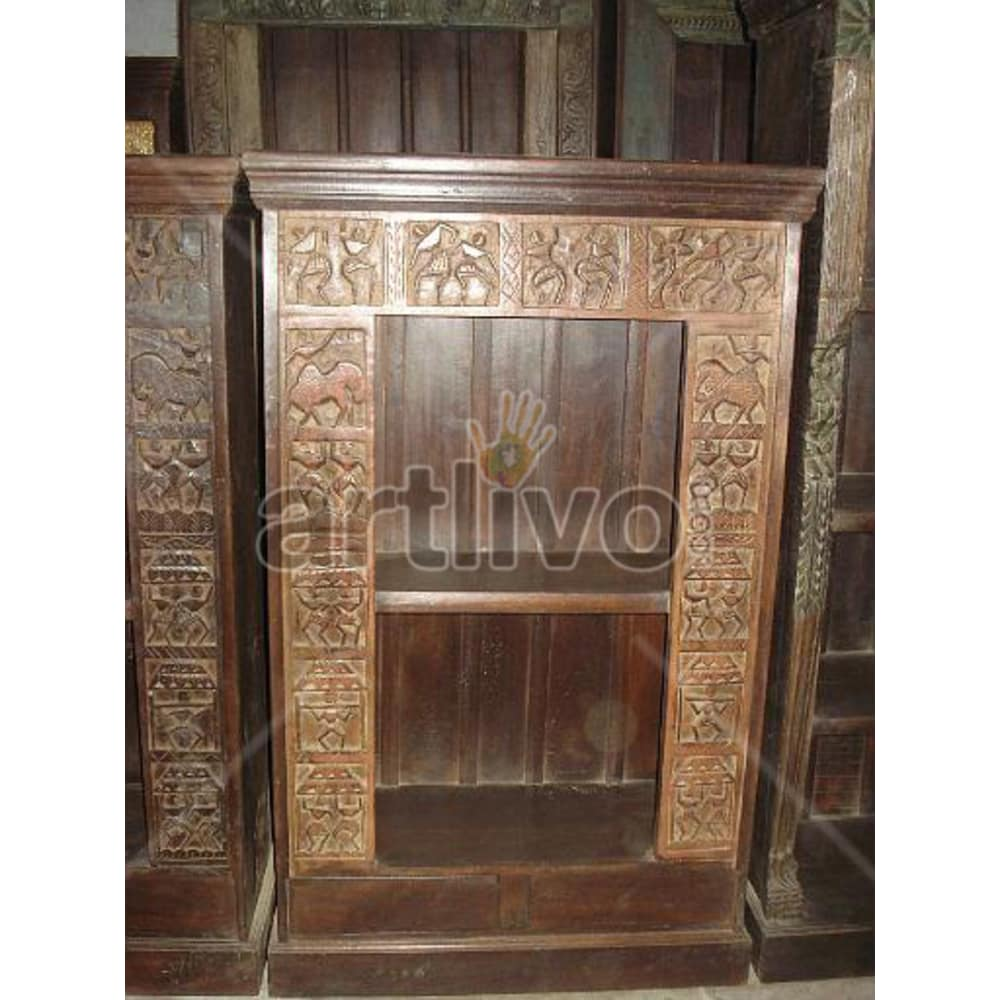 Vintage Indian Engraved Splendid Solid Wooden Teak Bookshelf
