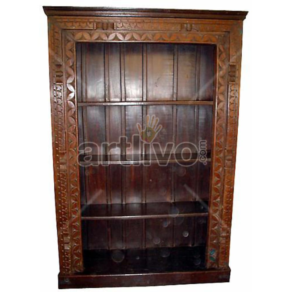 Vintage Indian Sculptured Deluxe Solid Wooden Teak Bookshelf