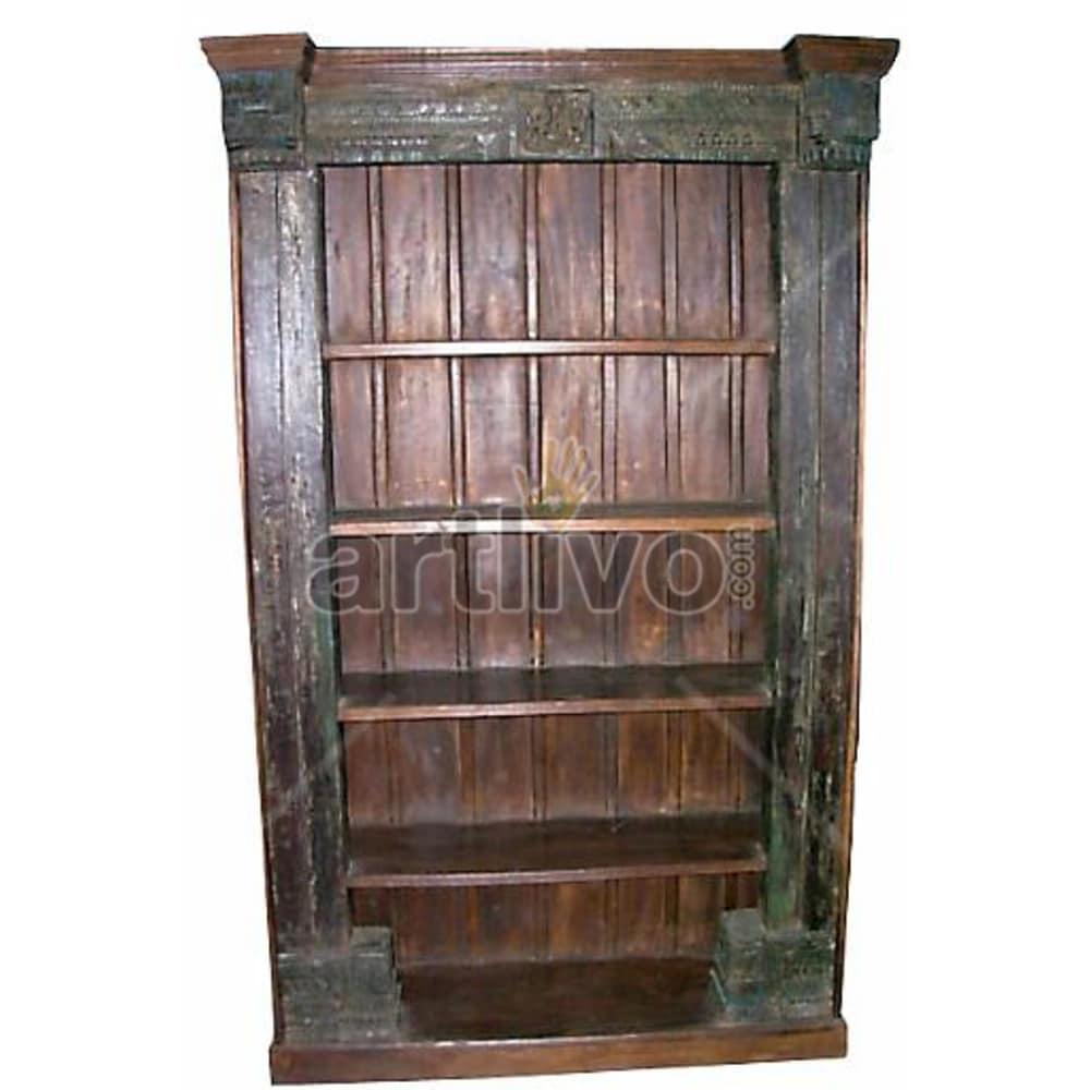 Antique Indian Carved Extravagant Solid Wooden Teak Bookshelf