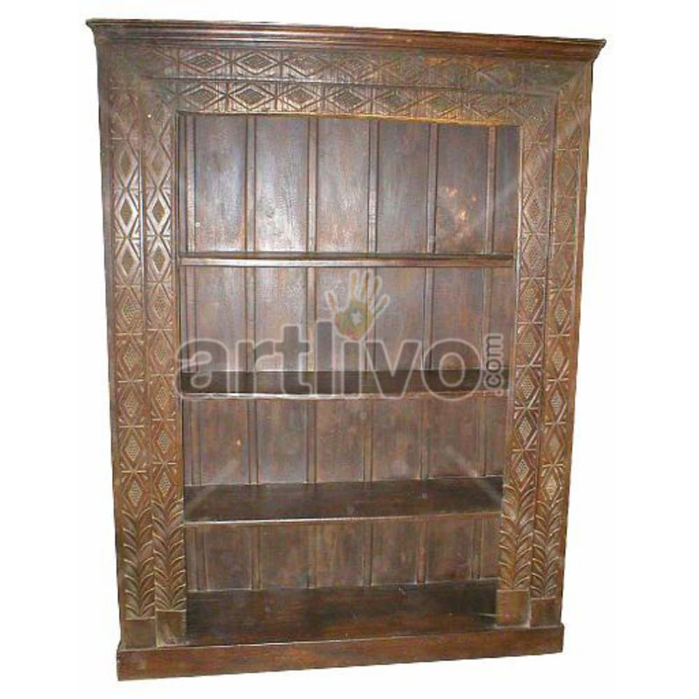 Antique Indian Chiselled Royal Solid Wooden Teak Bookshelf