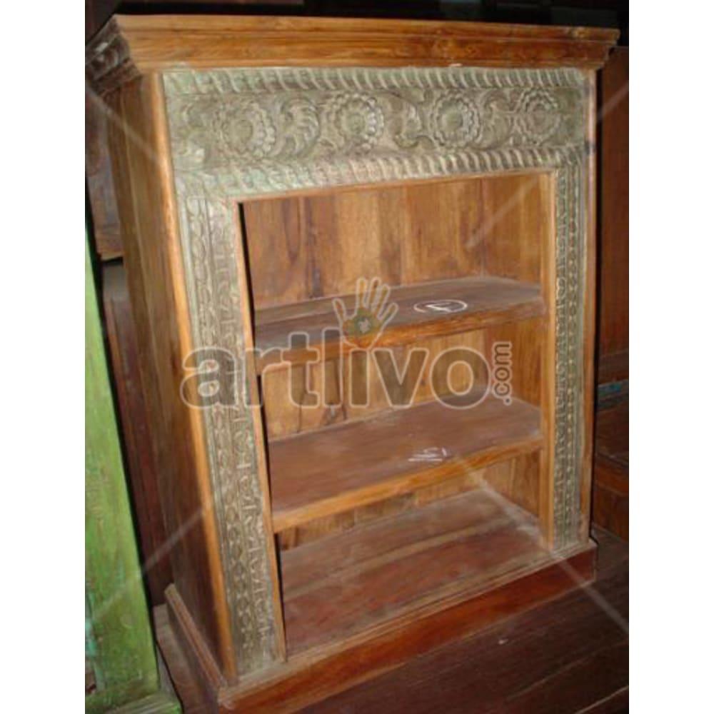 Antique Indian Chiselled Supreme Solid Wooden Teak Bookshelf