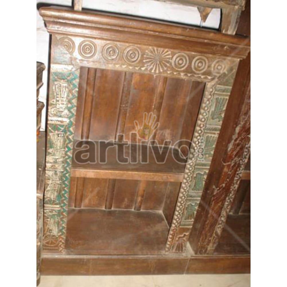 Antique Indian Engraved Lavish Solid Wooden Teak Bookshelf