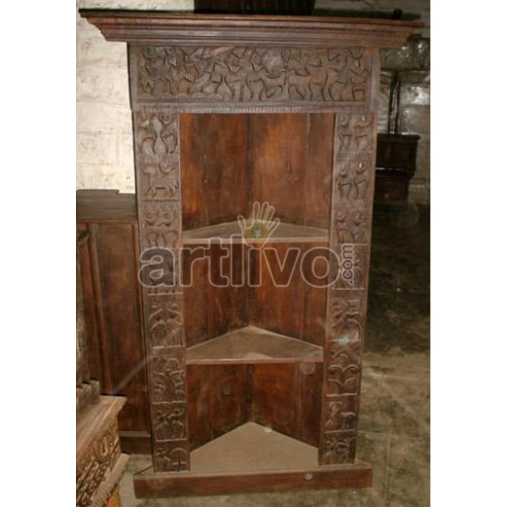 Antique Indian Engraved Aristocratic Solid Wooden Teak Bookshelf