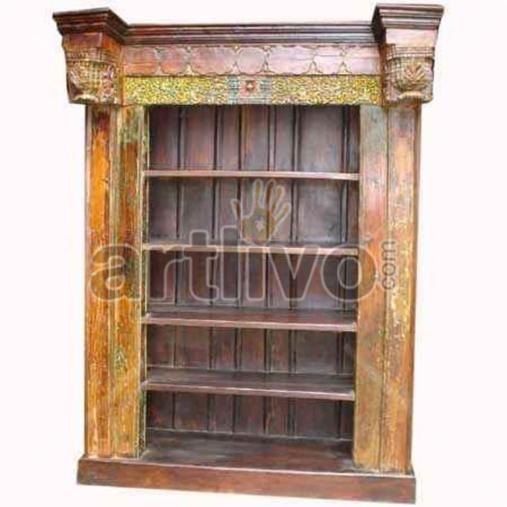Antique Indian Engraved Stately Solid Wooden Teak Bookshelf