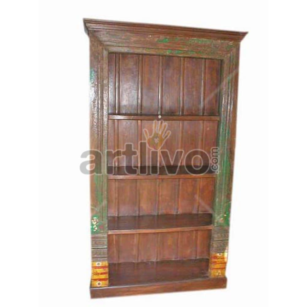 Antique Indian Sculpted Lavish Solid Wooden Teak Bookshelf