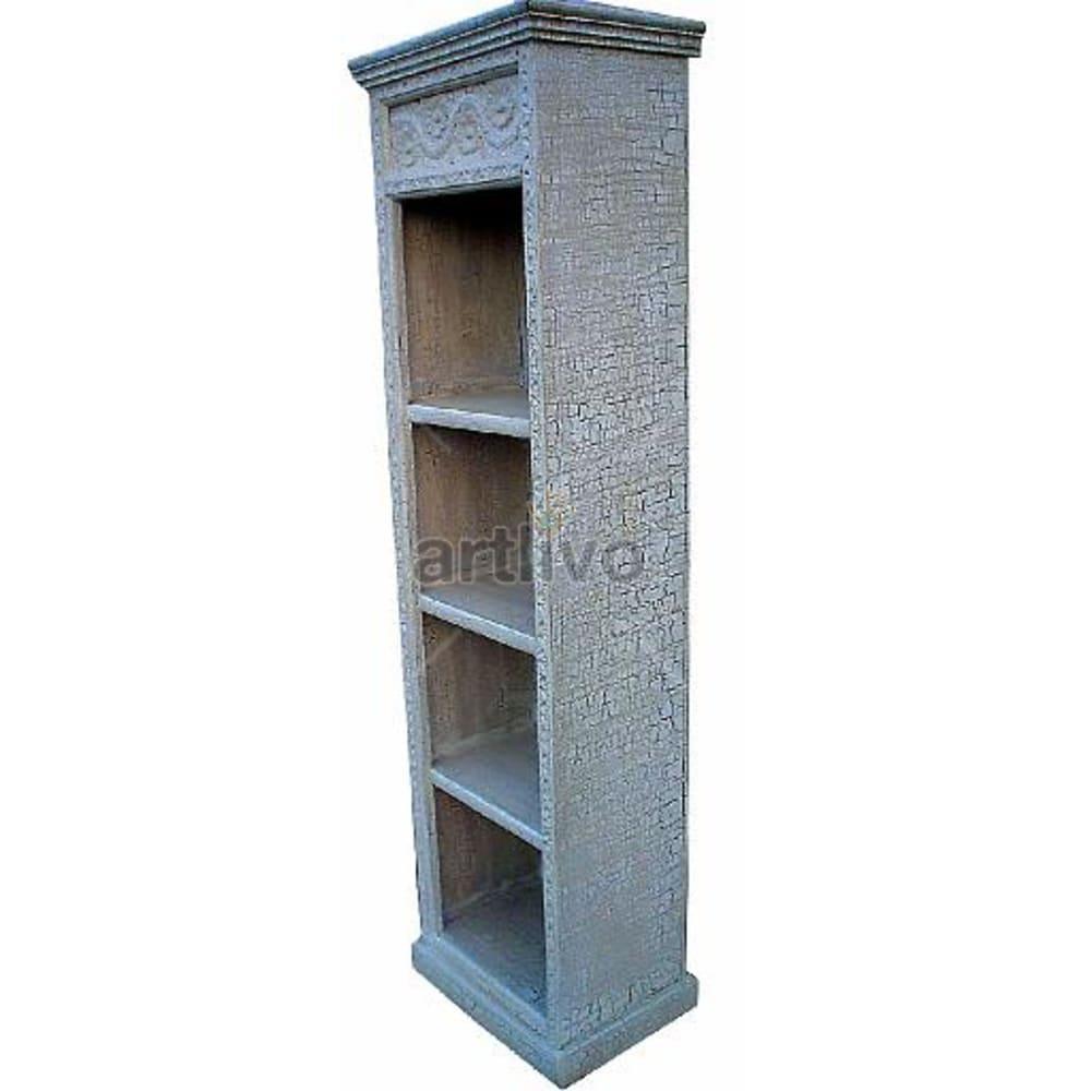 Antique Indian Sculptured Aristocratic Solid Wooden Teak Bookshelf