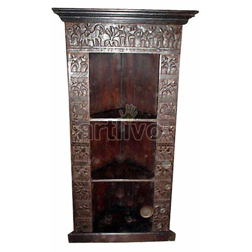 Antique Indian Sculptured Supreme Solid Wooden Teak Bookshelf