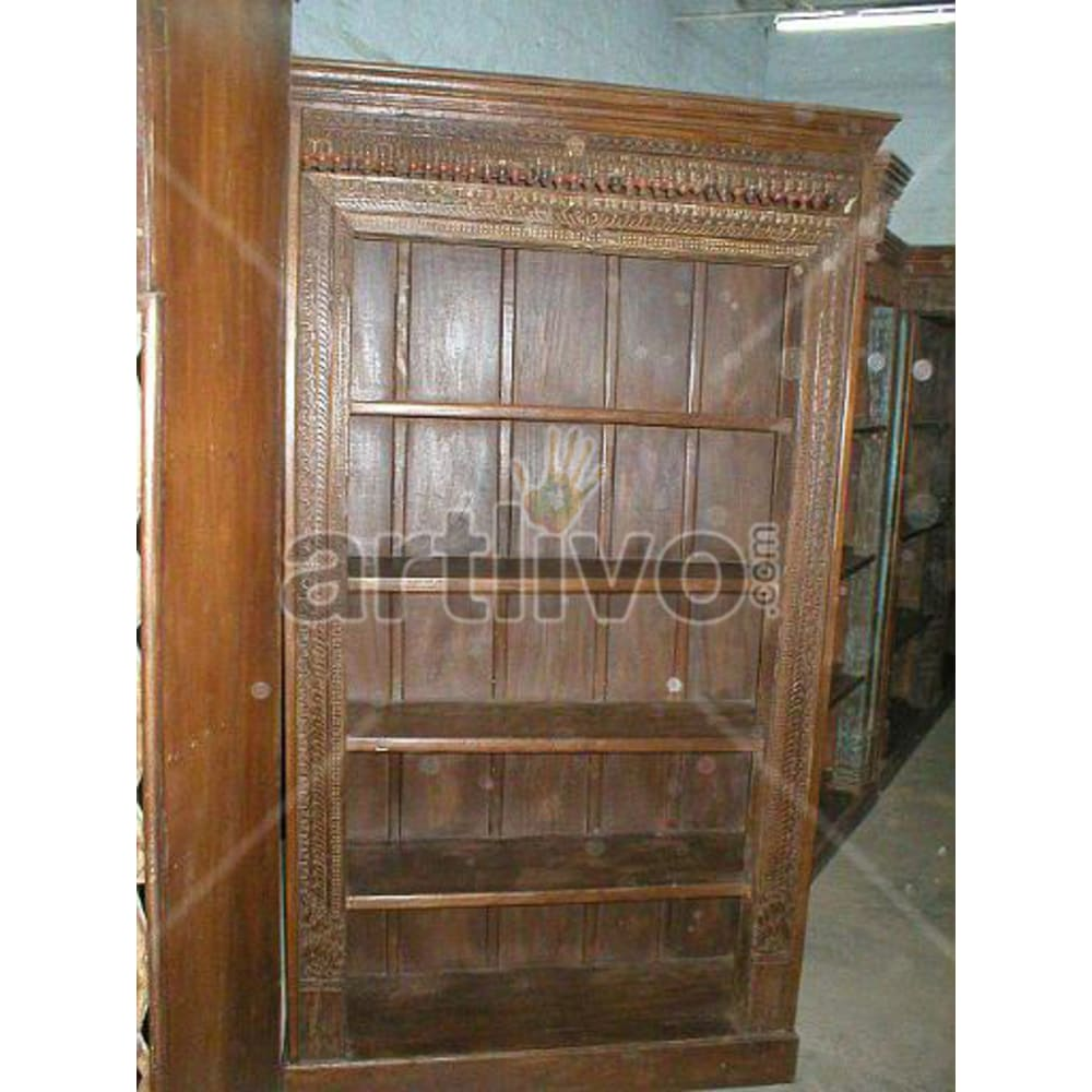 Antique Indian Beautiful Aristocratic Solid Wooden Teak Bookshelf