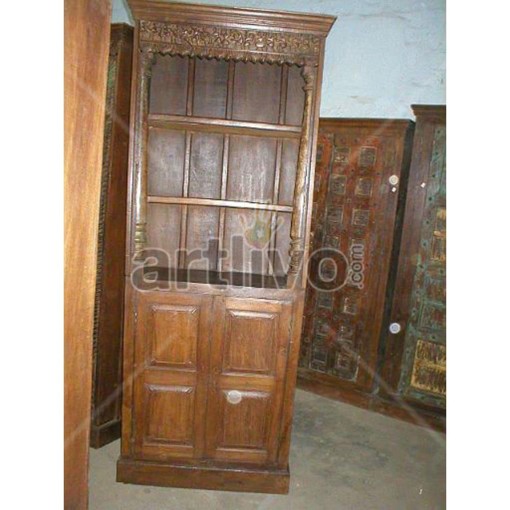 Antique Indian Beautiful Illustrious Solid Wooden Teak Bookshelf