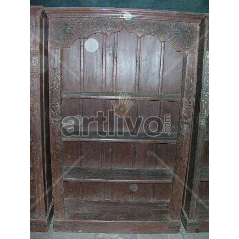 Old Indian Carved Opulent Solid Wooden Teak Bookshelf