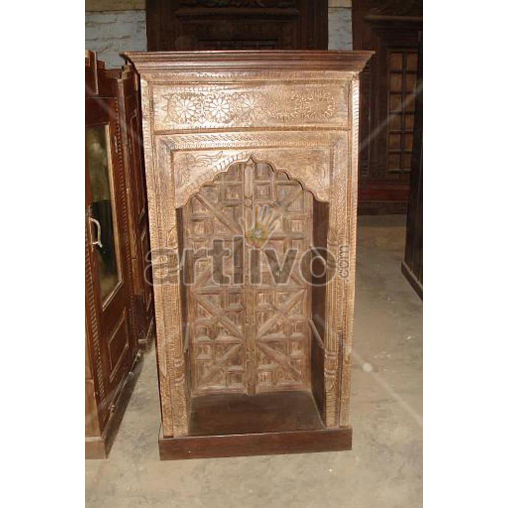Old Indian Carved Deluxe Solid Wooden Teak Bookshelf