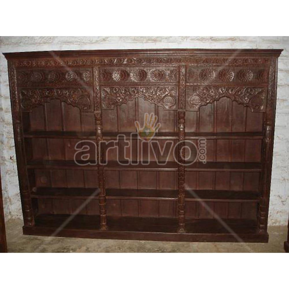Old Indian Carved Palatial Solid Wooden Teak Bookshelf