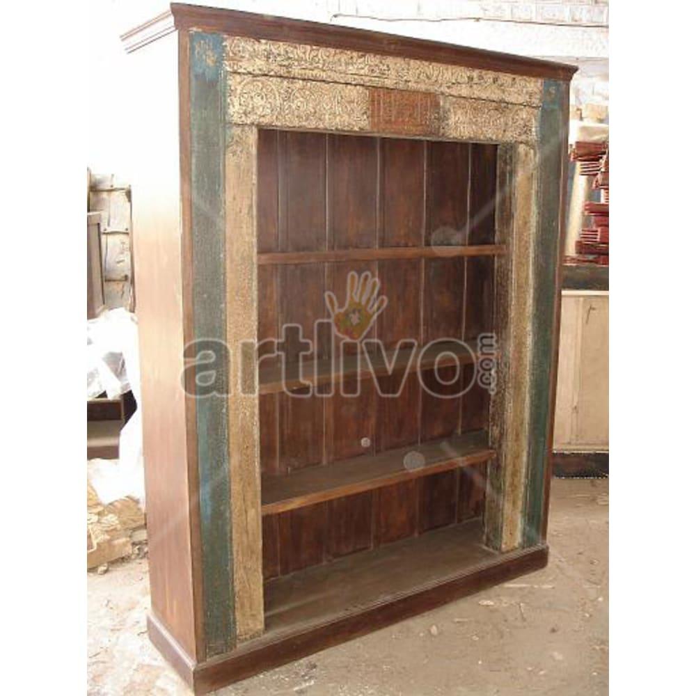 Old Indian Carved Magnificent Solid Wooden Teak Bookshelf