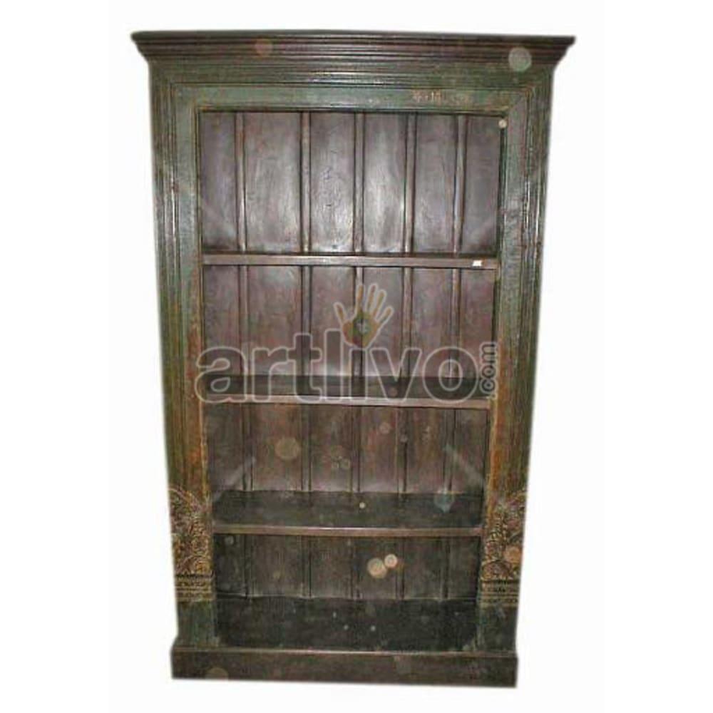 Old Indian Brown Aristocratic Solid Wooden Teak Bookshelf