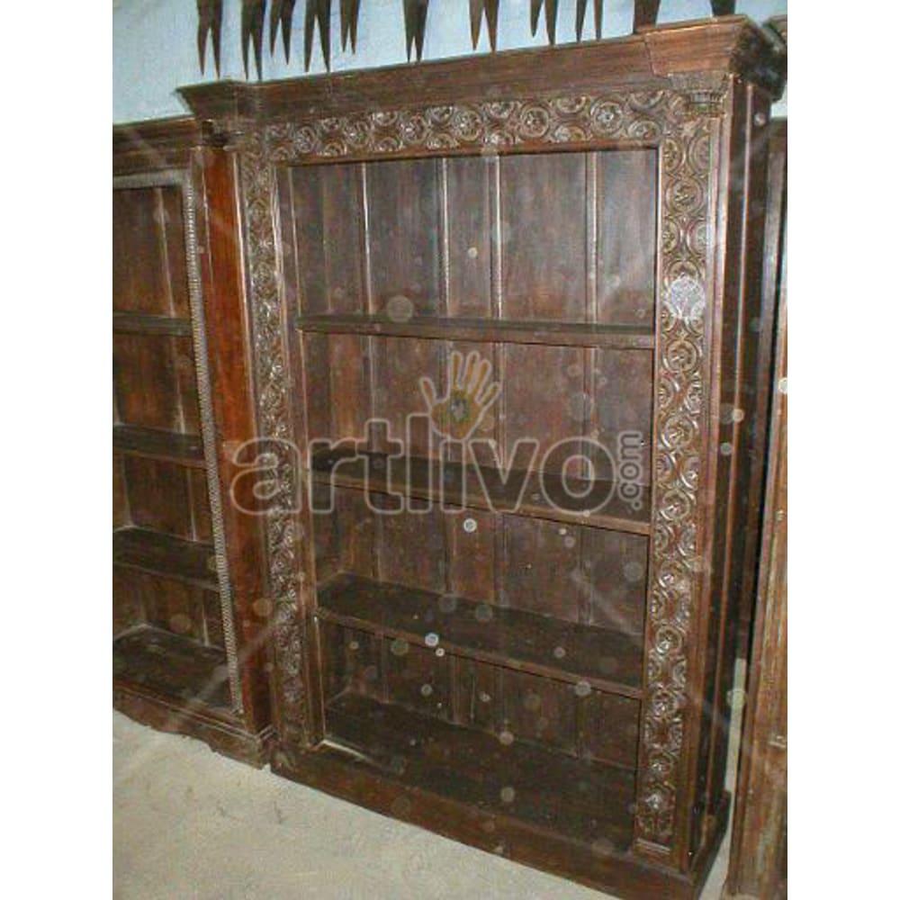 Old Indian Chiselled Deluxe Solid Wooden Teak Bookshelf
