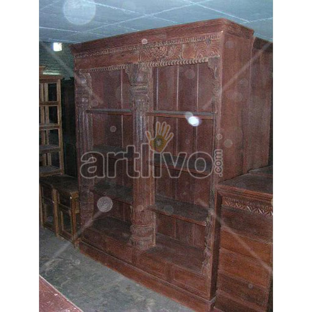 Old Indian Chiselled Plush Solid Wooden Teak Bookshelf