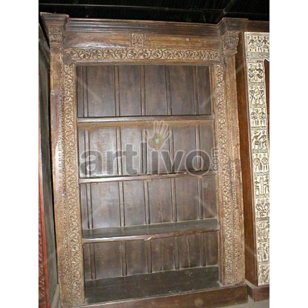Old Indian Engraved Rich Solid Wooden Teak Bookshelf
