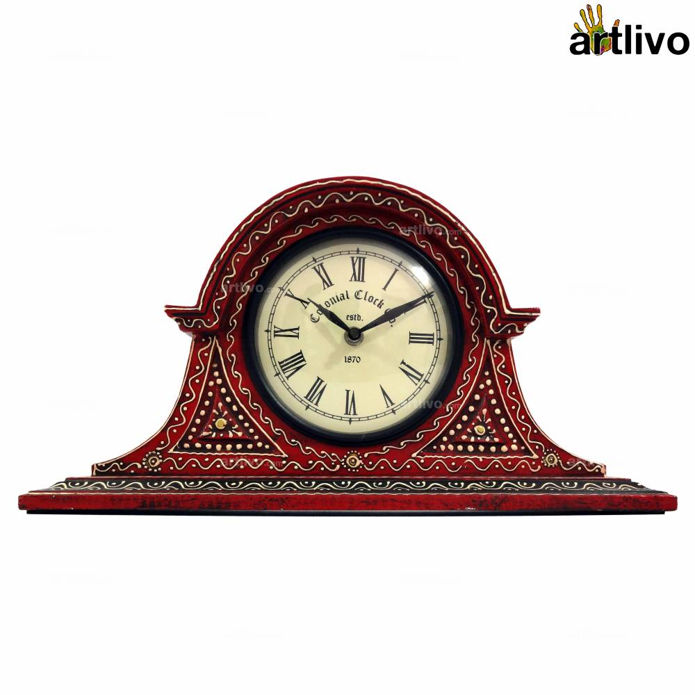 BOLD RED Big Face Table Clock