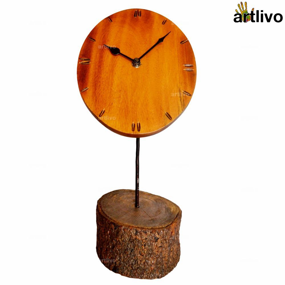 ECOLOG Natural Raw Wooden Table Clock