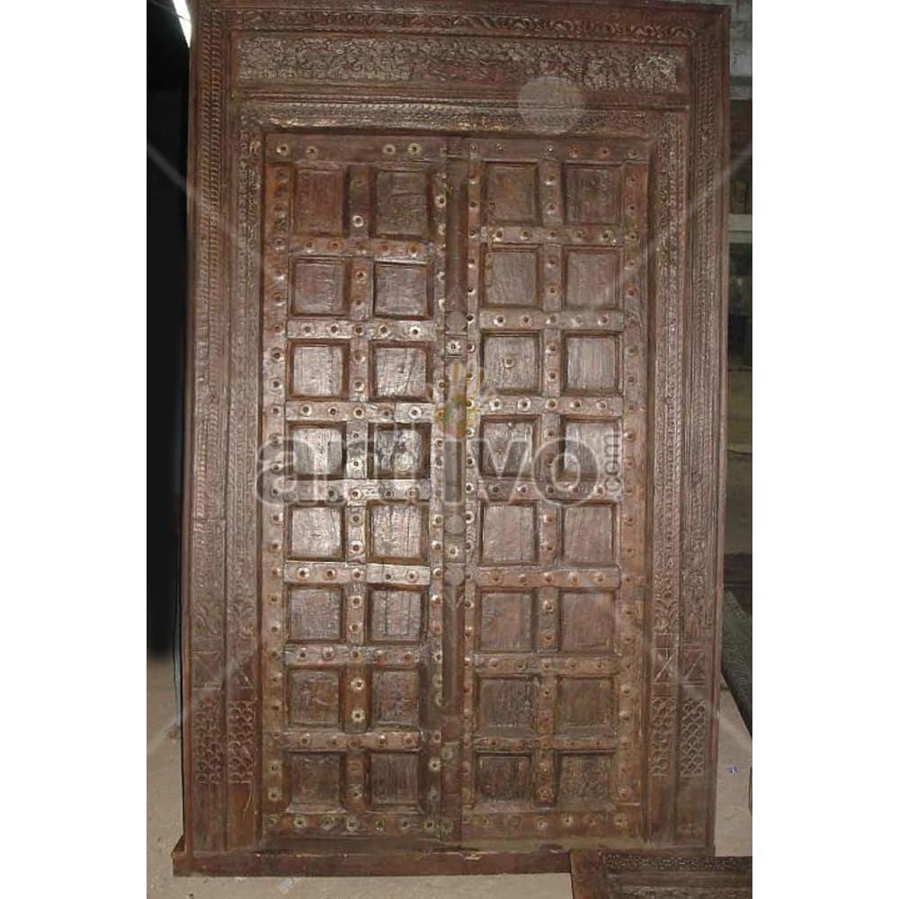 Vintage Indian Brown Royal Solid Wooden Teak Door