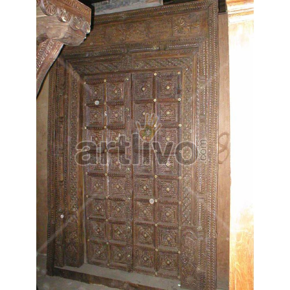 Vintage Indian Chiselled Illustrious Solid Wooden Teak Door