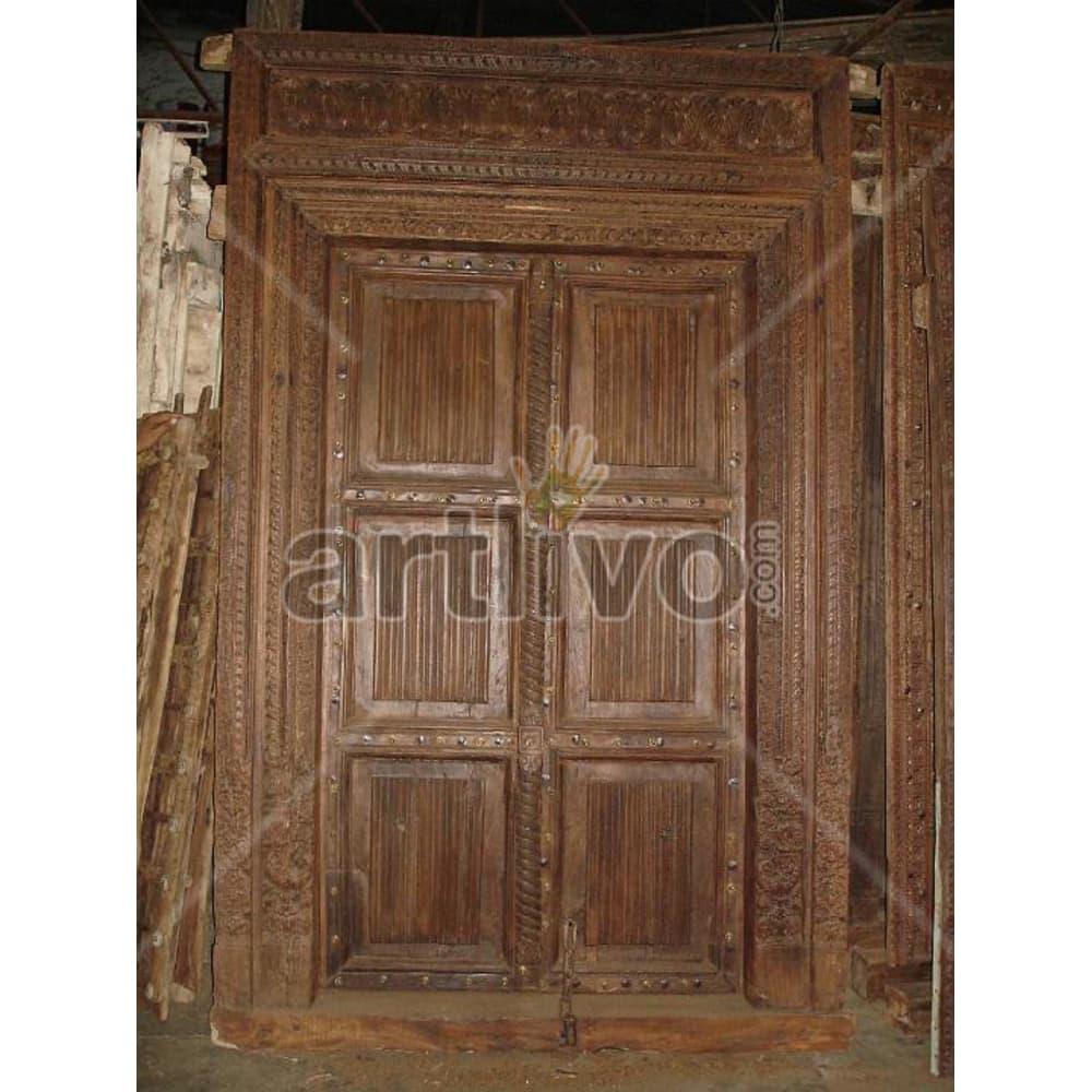 Vintage Indian Chiselled Superb Solid Wooden Teak Door