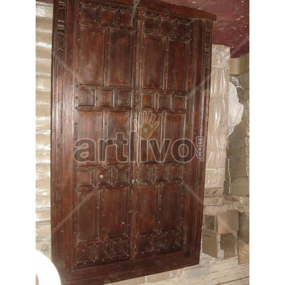 Vintage Indian Engraved Unique Solid Wooden Teak Door