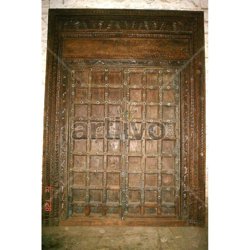 Vintage Indian Sculpted Unique Solid Wooden Teak Door