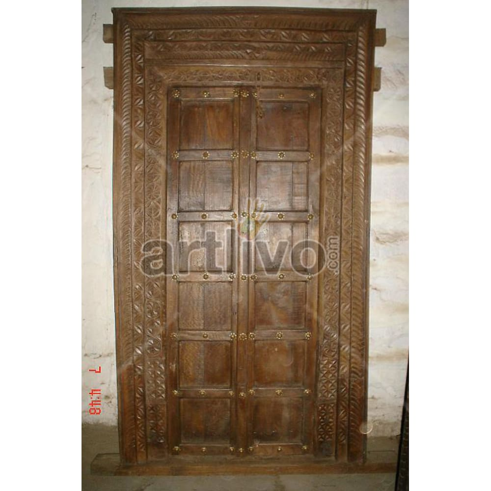 Vintage Indian Sculpted Plush Solid Wooden Teak Door