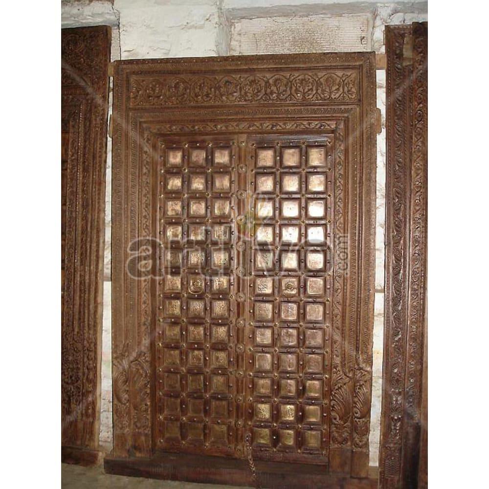 Vintage Indian Sculpted Stately Solid Wooden Teak Door with metal work